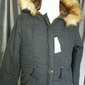 """Hooded parka womens lined coat 6 black chest 40"""""""